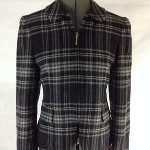 Jones New York Plaid Wool Zippered Blazer Jacket